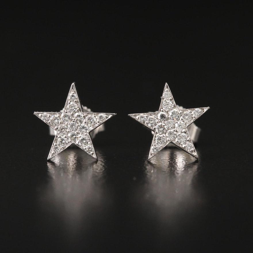 18K Diamond Star Earrings