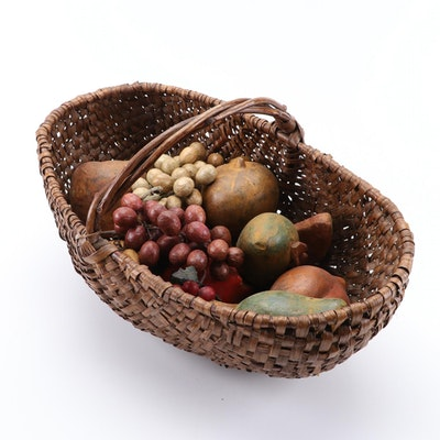 Decorative Woven Basket with Wooden Fruits and Vegetables