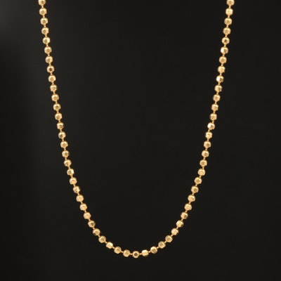 18K Faceted Bead Link Chain