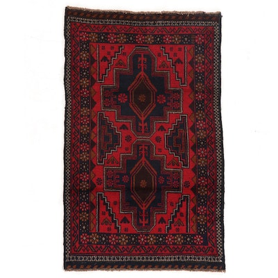 2'10 x 4'6 Hand Knotted Tribal Baluch Accent Rug