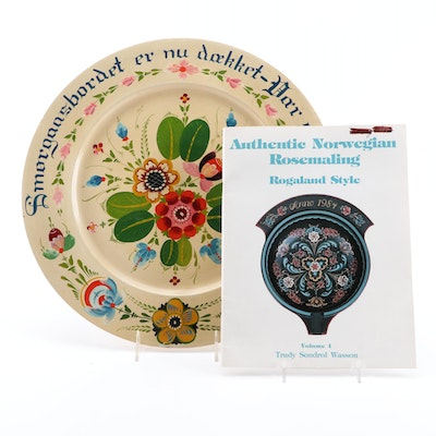 Rosemaling Wooden Plate with Book, Mid to Late 20th Century