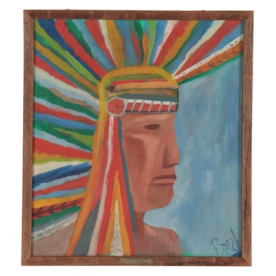 Folk Art Style Native American Oil Painting, Late 20th Century