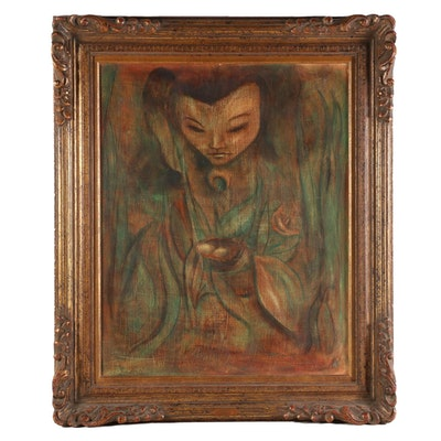 """E. Ragsdale Portrait Oil Painting """"The Gift,"""" 1960"""