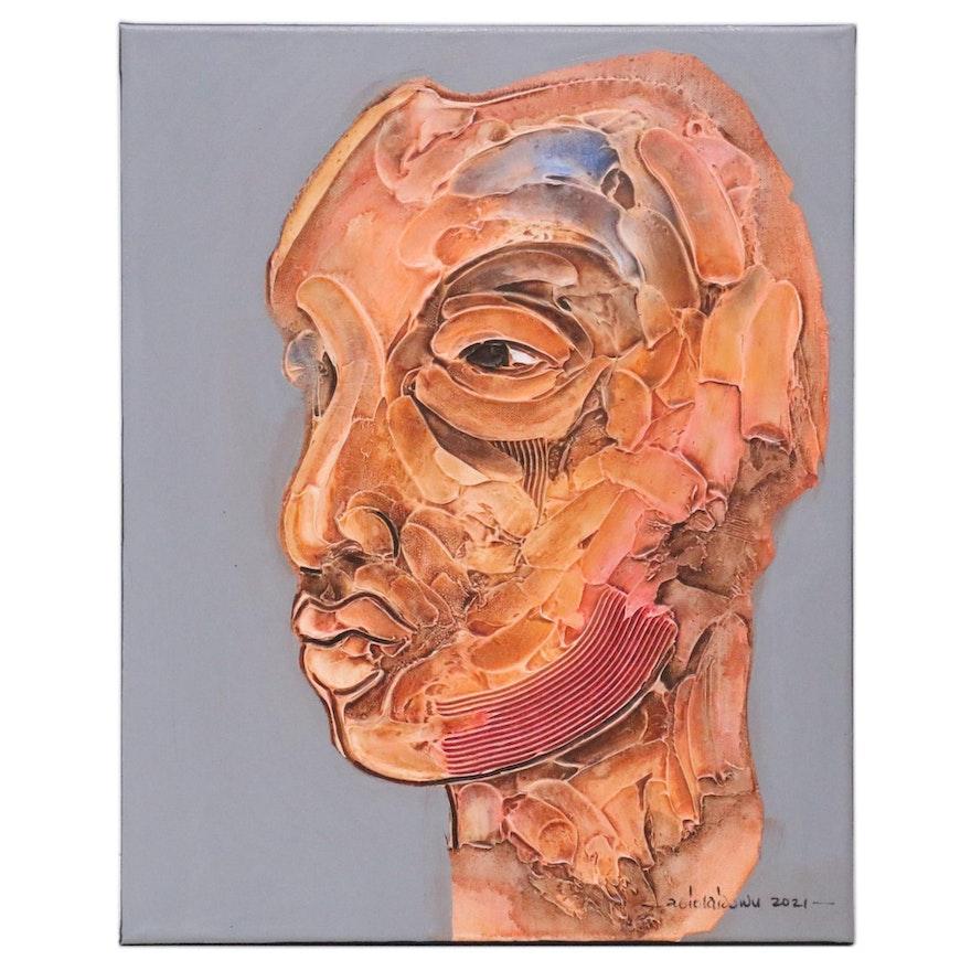 """Abiola Idowu Mixed Media Painting """"Wonder (Iyanu),"""" 2021"""