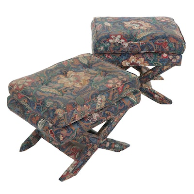 Pair of X-Base Upholstered Footstools, Late 20th Century
