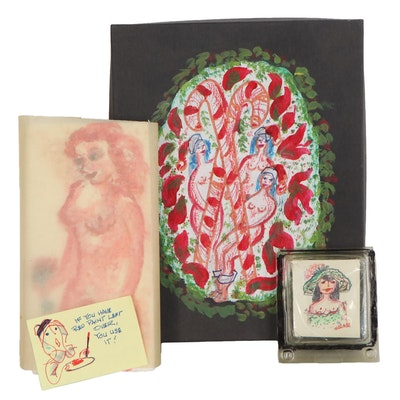 "Franklin Folger Mixed Media Figural Paintings ""Flower Girl,"" Mid-20th Century"