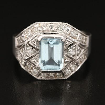 14K Aquamarine and Diamond Openwork Ring