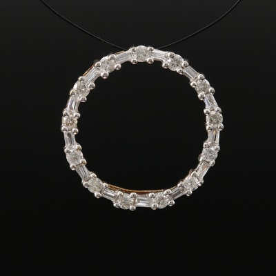 10K Diamond Circle Pendant