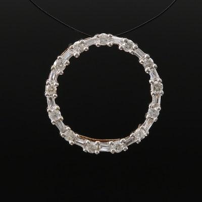 10K Diamond Circle Pendant