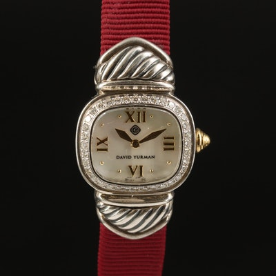 David Yurman Sterling Silver and DIamond Wristwatch