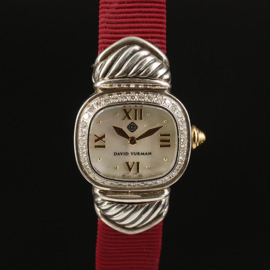 David Yurman Sterling Silver and DIamond Wristwatch