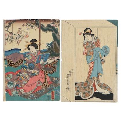 Utagawa Kunisada Woodblocks of Kabuki Actor and Female Figure, circa 1850