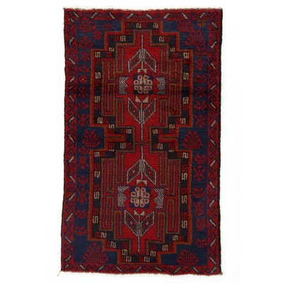 2'9 x 4'8 Hand-Knotted Afghan Baluch Accent Rug