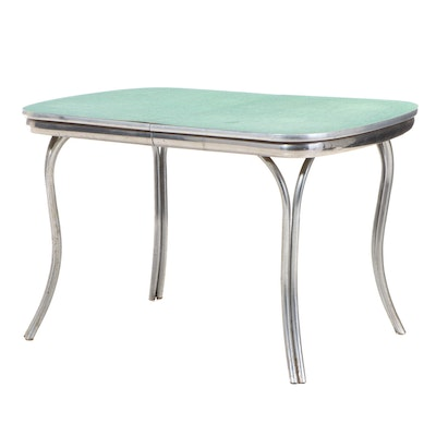 Mid Century Modern Chrome and Laminate Top Extending Dining Table