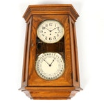 Howard Miller Oak Calendar Wall Clock, 21st Century