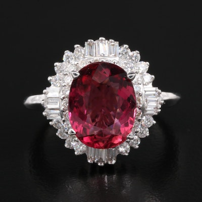 14K White Gold 2.70 CTW Tourmaline and 1.00 CTW Diamond Ring with GIA Report