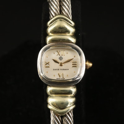David Yurman 14K and Sterling Silver Double Cable Quartz Wristwatch