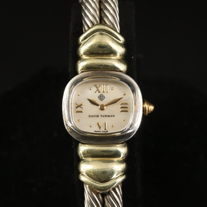 David Yurman 14K and Sterling Silver Double Cable Quartz Wristwatch