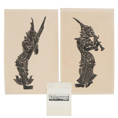 Thai Temple Rubbings and Giclée of Harbor, Mid-20th Century