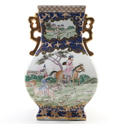 Chinese Export Style Ceramic Vase with European Hunting Scene, Mid-Late 20th C.