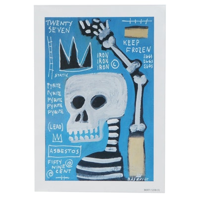 Giclée after Jean-Michel Basquiat of Crowned Skeleton