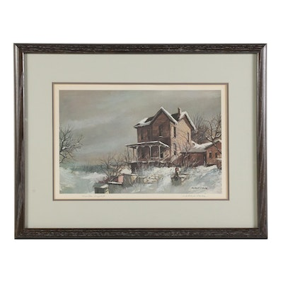 "Robert Fabe Offset Lithograph ""Winter Light,"" Late 20th Century"
