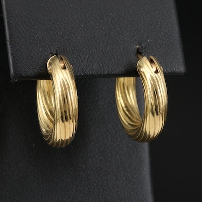 18K Ridged Hoop Earrings