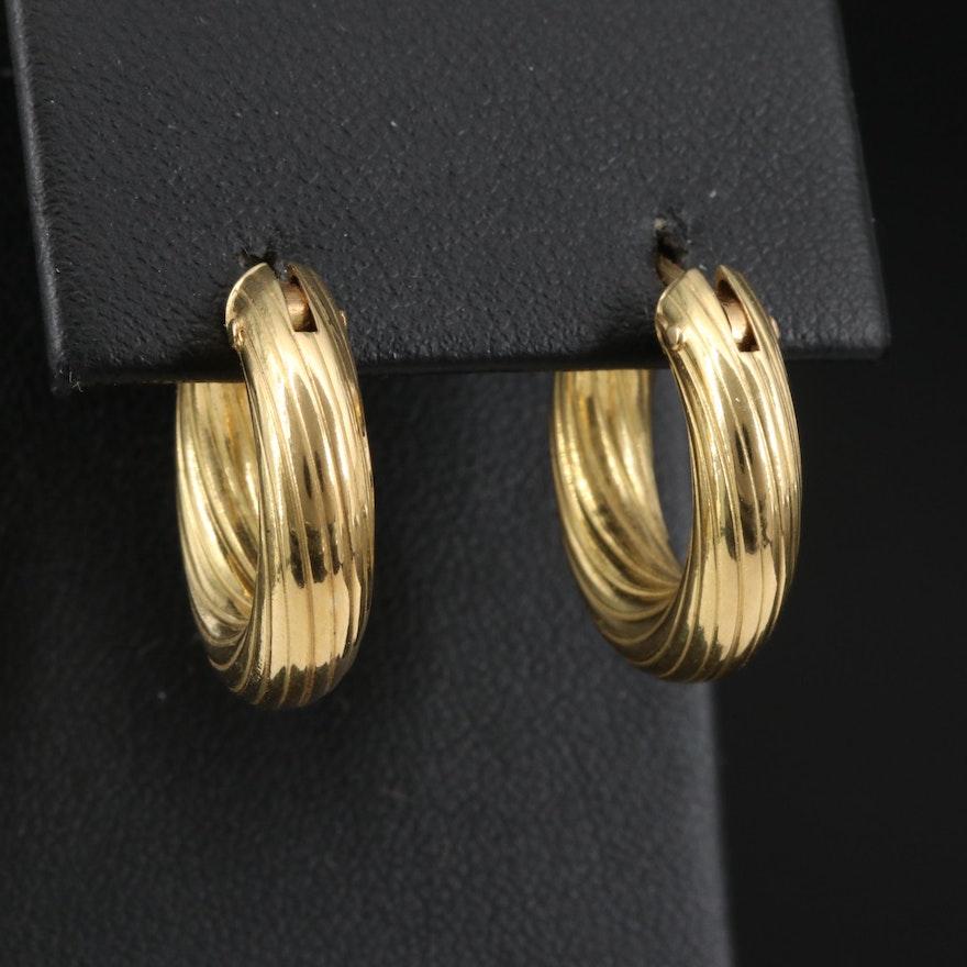 18K Ridged Hoop Earrings