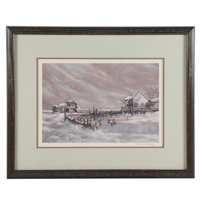 "Robert Fabe Offset Lithograph ""First Frost,"" Late 20th Century"