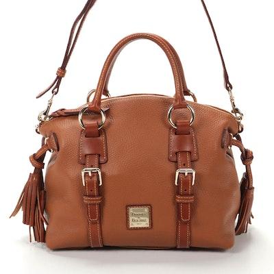 Dooney & Bourke Saddle Brown Pebbled Leather Shoulder Bag with Tassels