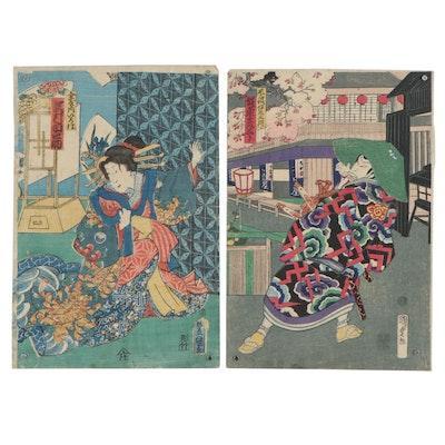 Utagawa Kunisada and Utagawa Kunisada II Woodblocks of Kabuki Actors