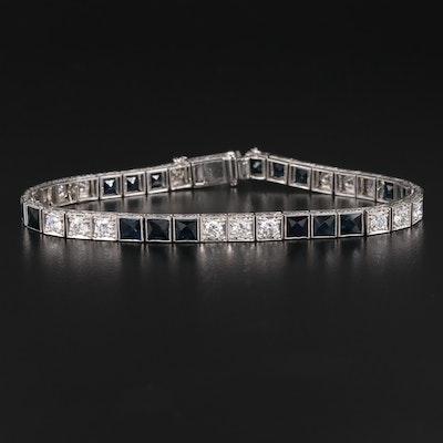 Art Deco Platinum 2.40 CTW Diamond and Sapphire Link Bracelet
