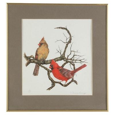 Valerie Dunning-Denlinger Cardinals Offset Lithograph, 1980