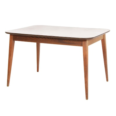 Mid Century Modern Wood and Laminate Top Breakfast Table