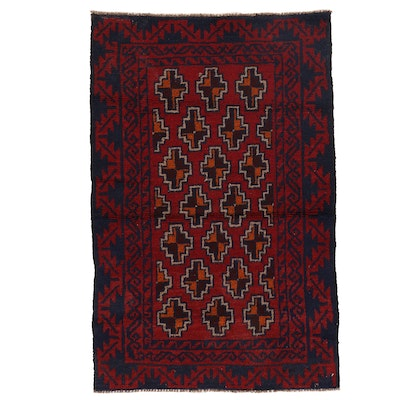2'11 x 4'6 Hand Knotted Afghan Baluch Accent Rug