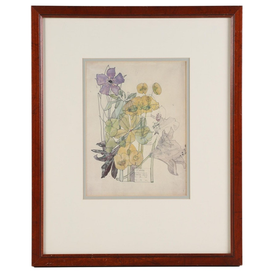 """Offset Lithograph after Charles and Margaret Mackintosh """"Spurge Withyham"""""""