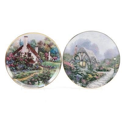 "Franklin Mint ""A Cozy Glen"" and Knowles ""Chandler's Cottage"" Porcelain Plates"
