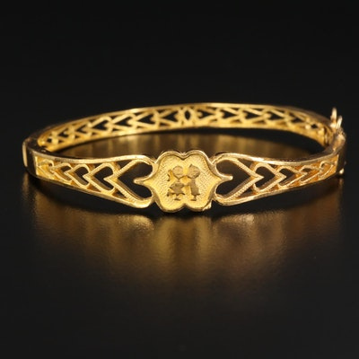 Chinese 24K Hinged Bangle with Open Heart Patterns and 21K Findings