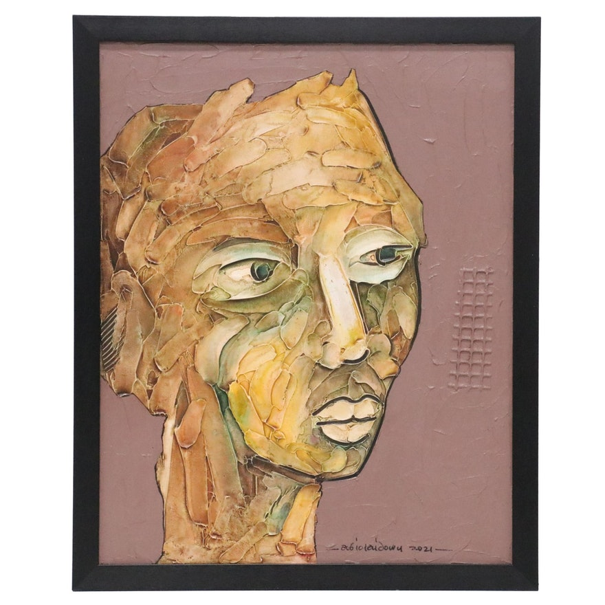 """Abiola Idowu Mixed Media Painting """"Life of Possibility,"""" 2021"""