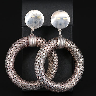 Sterling Silver Drop Hoop Snake Scale Earrings