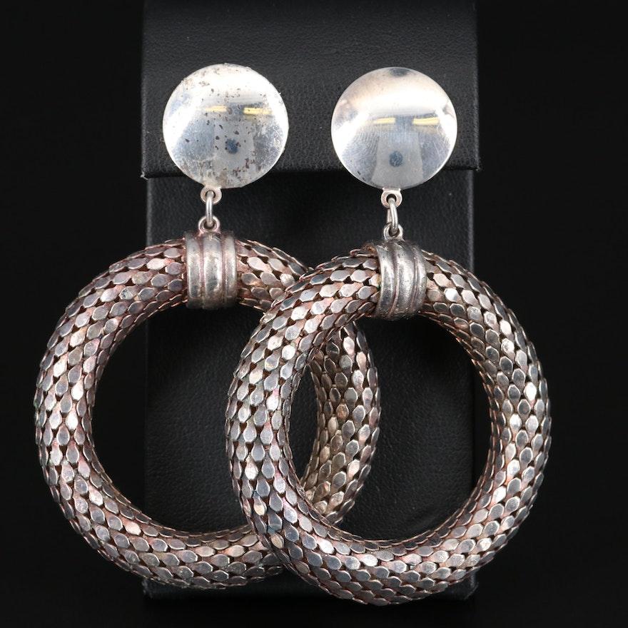 Sterling Silver Drop Hoop Snake Scale Earrings