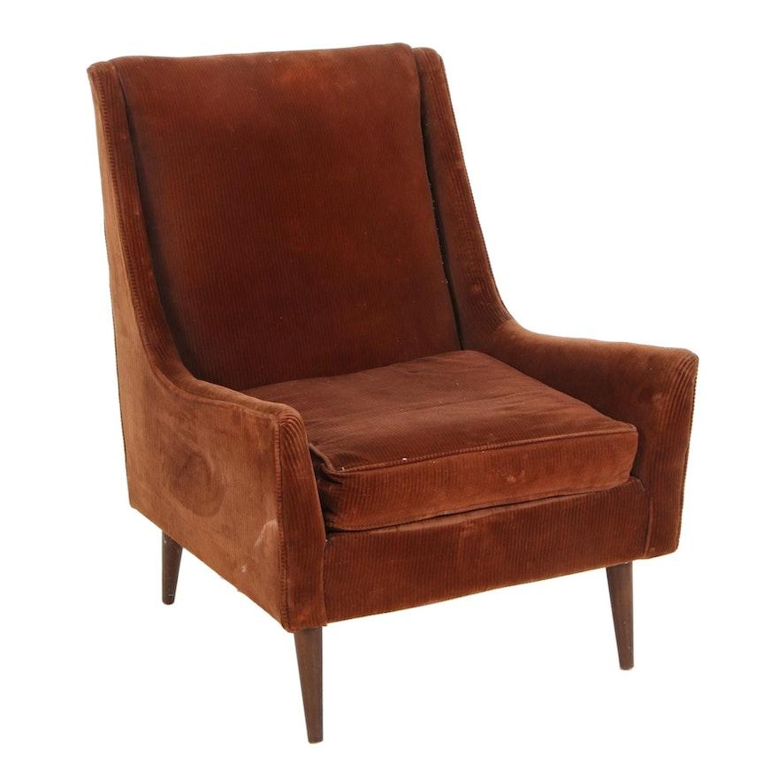 Mid Century Modern Velvet Upholstered Lounge Chair