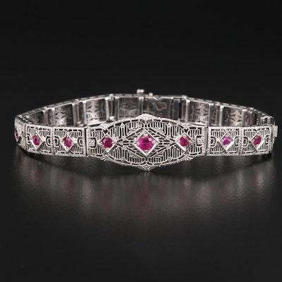 1930s 14K Ruby Filigree Link Bracelet