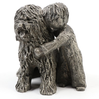 "Walli Ortman ""Best Friends"" Boy & Dog Pewter Figural, Late 20th Century"