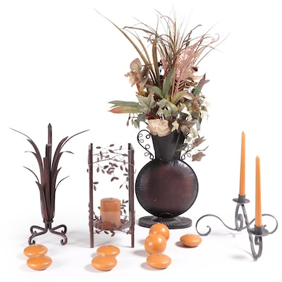 Wrought Metal and Glass Candle Holder, Candles, and Metal Vase