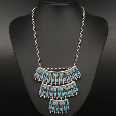 Southwestern Style Sterling Turquoise Petit Point Bib Necklace