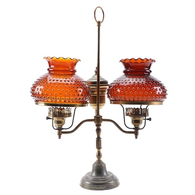 Brass Double Arm Student Lamp with Amber Hobnail Glass Shades