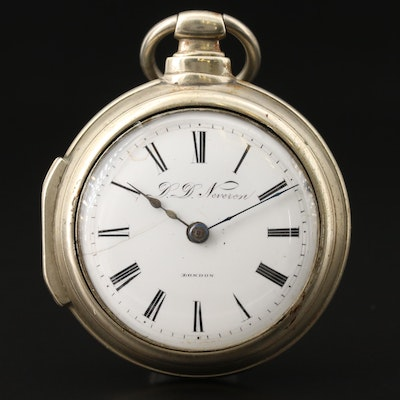 D.D. Neveren London Double Case Pocket Watch