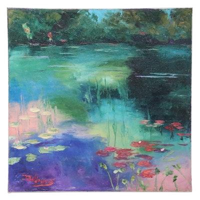 """James Baldoumas Oil Painting """"Pond View,"""" 2021"""