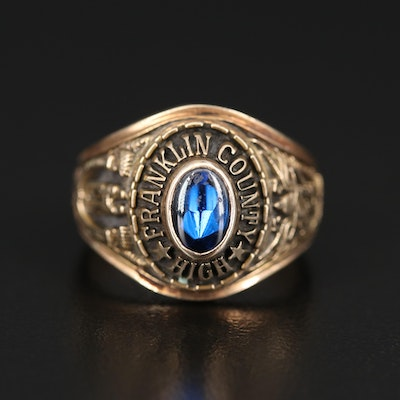 10K Spinel Class Ring for Franklin County High